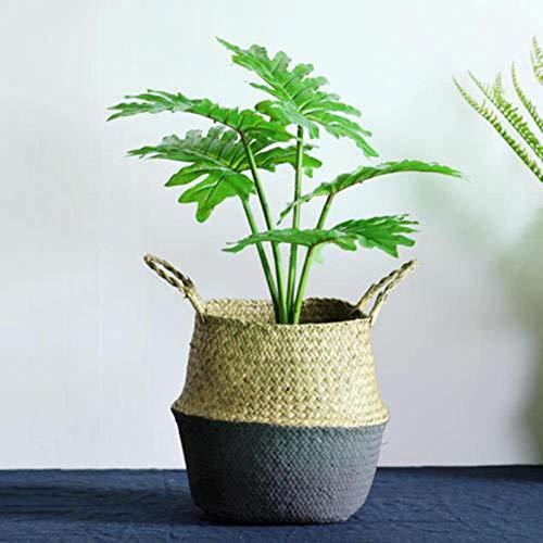 JUECAN Bamboe Opbergmandjes Opvouwbare Wasserij Rieten Patchwork Rotan Zeegras Buik Tuin Bloem Pot Planter Mand Zwart