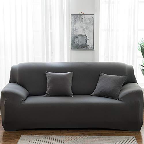 QYYL Funda Sofá, Funda de sofá Antideslizante, Antiarrugas/No se decolora, Lavar a máquina, Envolvente Completo de 360°para Sofas Ajustable Protector, Decoración del hogar (Gray,Double/145-185cm)