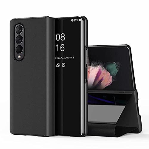 TingYR Hülle für Samsung Galaxy Z Fold 3 Schutzhülle, Plating Spiegel Tasche Cover Smart Handyhülle Schutzhülle Flip Lederhülle Etui, Handyhülle Hülle für Samsung Galaxy Z Fold 3.(Schwarz)