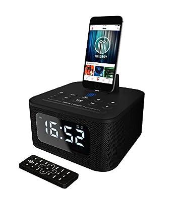 MAJORITY Neptune Speaker 20W Docking Station Bluetooth Alarm Clock FM Radio Lightning Dock for iPhone 5 5S 5C 6 6+ 6S 7 7+ 8 8+ X XR XS, iPad Air Mini iPod (Black) by Majority