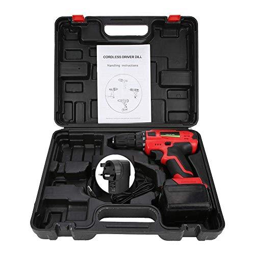 W-SHTAO Hardware Storage Box 21V Rechargeable Cordless Electric Drill Screwdriver Handheld Tool(GB), 21V Electric Rechargeable Cordless Drill Screwdriver Handheld Tool (UK Plug 100-240V)