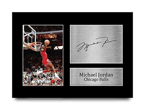 HWC Trading Michael Jordan A4 Sin Marco Regalo De Visualización De Fotos De Impresión De Imagen Impresa Autógrafo Firmado por Chicago Bulls Los Aficionados Al Baloncesto