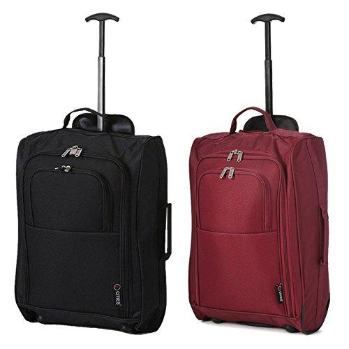 Set mit 2 SuperLeichter Cabin Approved Gepäck Travel Wheely Suitcase Radfahrtaschen Taschen (Wein + Schwarz 55CM)