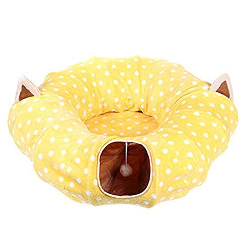Liamostee Katzenspielzeug, Tunnel, lustig, faltbar, weich, für Katzen, gelb, Rund