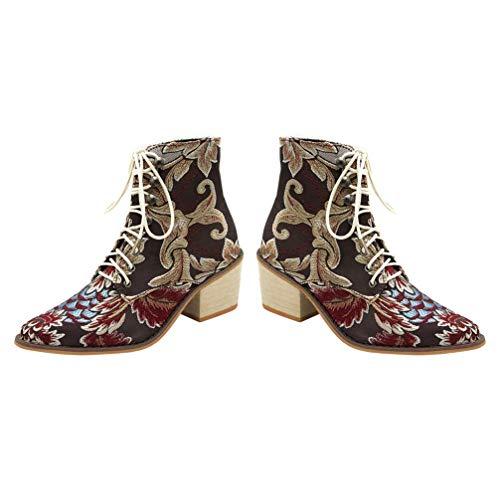 Masywne buty damskie Pointy Retro buty zimowe Haftowane sznurowane botki 1 para