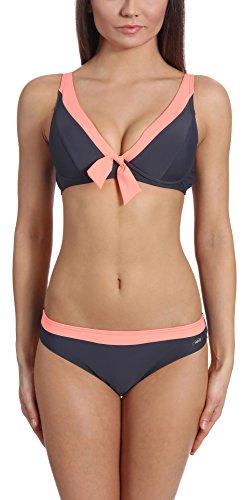 Verano Damen Bikini Set Lilian (Graphit/Lachs, Oberteil 44 / Unterteil 40)