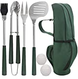 POLIGO 7pcs Golf-Club Style Grill Accessories Kit with Rubber Handle - Stainless Steel BBQ Tools in Bag for Camping - Premium Grilling Utensils Set Ideal Fathers Day Birthday Gifts for Dad Men Women