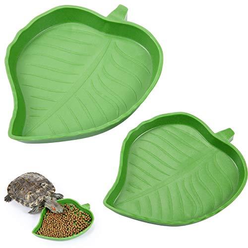 2 Stück Blatt Reptilienschale Lebensmittel Wasser Bowl Platte Schale für Schildkröte Corn Schlange Kriechen Haustier Trinken und Essen, 2 Größen