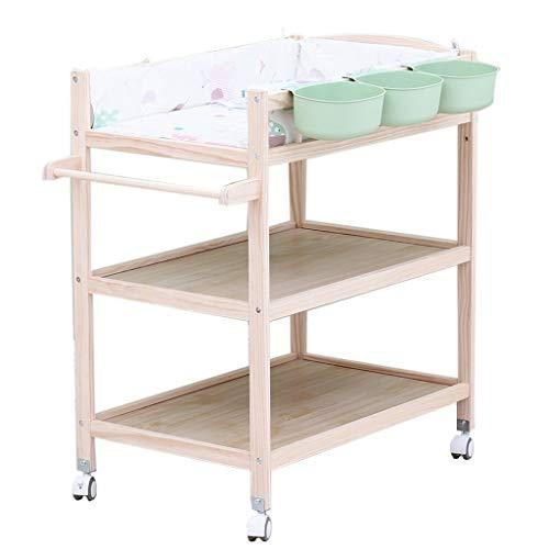 QZ Tables à Langer Table à Langer en Bois pour bébé sur Roues, Chambre d'enfant Filles garçons garçons Massage Commode Station de Baignoire avec Rangement, 0-3 Ans
