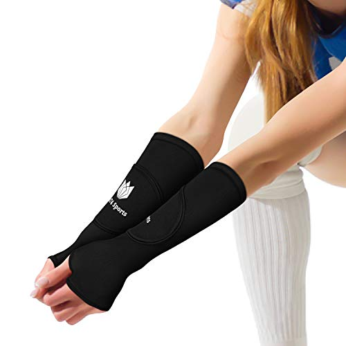 FitsT4 Volleyball Arm Sleeves- Passing Forearm Sleeves with Protection Pad and Thumbhole for Youth Women 1 Pair