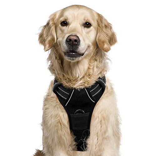 rabbitgoo No-Pull Hundegeschirr atmungsaktiv Brustgeschirr Hundevest für Mittle Große Hunde Welpengeschirr Reflexstreifen Sichere Einstellbar Weich Schwarz L