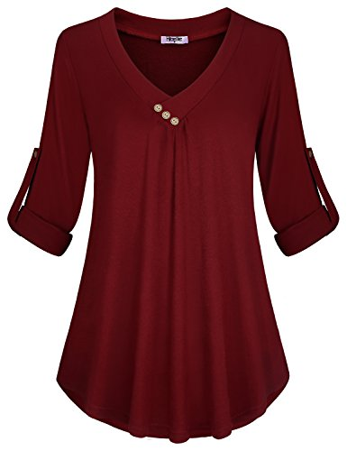 Hibelle Women Tunic Tops, Petite Cute V Neckline Decorative Buttons Design Plus Sized Loose Tunics Rolled Up Sleeve Henley Plain Solid Quality Fall Work Blouse Shirt Wine Red X Large