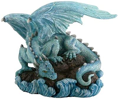 StealStreet Blue Water Dragon on Rock Fantasy Figure Decoration