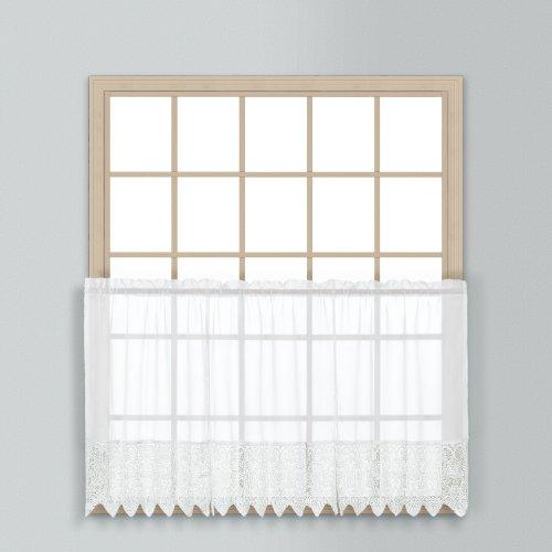 United Curtain Valerie Lace Sheer Kitchen Tiers, 52da 61cm, Bianco, Set di 2