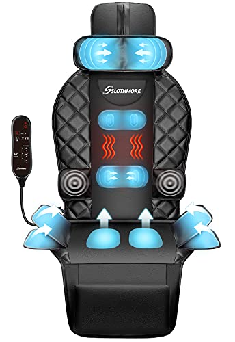 Back Massager with Heat & Compress,Vibrating Massage Seat Cushion for Home or Office Chair Use,Electric Body Massager Helps Relieve Stress and Fatigue for Neck,Back and Hips