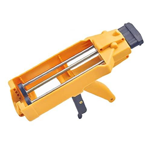 LAANCOO Manual del Tubo del Cartucho de calafateo Herramienta de Doble Putter plástico Epoxi Aplicador Herramienta Resistente de Color Amarillo