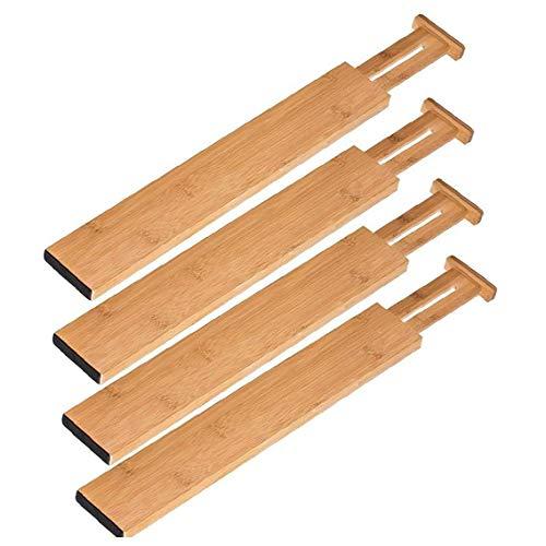 NiceCore Ampliable Organizador de cajones de bambú Cocina Divisor de partición de Almacenamiento de Muelle para los 4PCS Cocina baño Dormitorio
