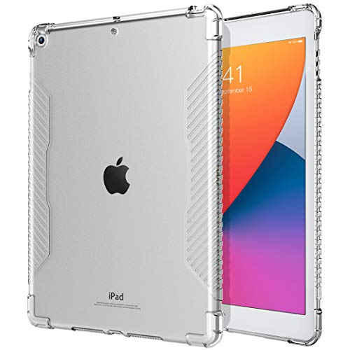 TiMOVO Case for New iPad 8th Generation 2020 / iPad 7th Generation 10.2' 2019, Shockproof Impact Resistant Flexible Transparent Clear TPU Protective Shell with Air Cushion Fit iPad 10.2-inch - Clear