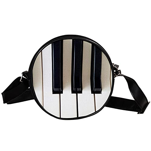 Runde Crossbody Tasche Kleine Handtasche Damen Mode Schultertaschen Messenger Bag Canvas Tasche Hüfttasche Zubehör für Frauen - altes Klavier
