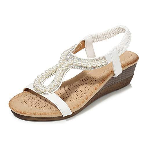 Sandalias De Cuña Para Mujer De Verano Blanco, Cuentas De Diamantes, Sandalias De Moda Para Mujer, Zapatos Casuales Simples Para Mujer, Sandalias De Fondo Grueso Para Mujer