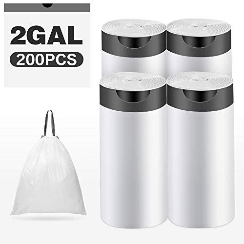 2 Gallon Drawstring Trash Bags,Small Kitchen Garbage Bags Strong Small Trash Bag for Kitchen Bathroom Bedroom Office 16 X 13 inch,200 Counts White