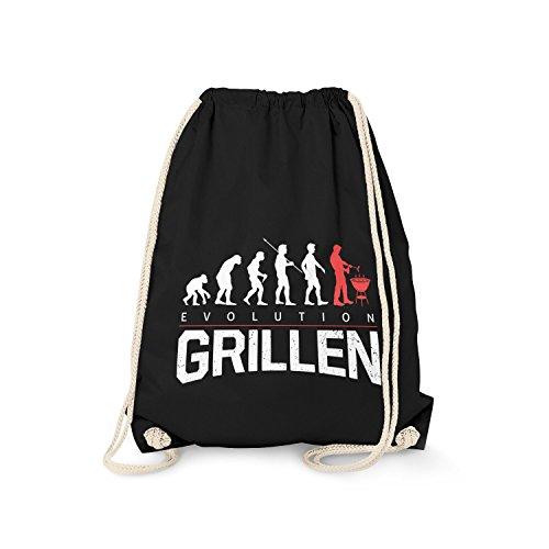 Fashionalarm Turnbeutel - Evolution Grillen | Fun Rucksack mit lustigem Motiv als Geschenk Idee zur Grill Party & Barbecue Fleisch, Farbe:schwarz