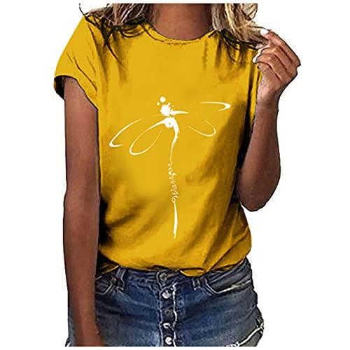Camiseta para mujer con estampado de libélula, manga corta, informal, con cuello redondo, básica, cómoda, informal, túnica, para adolescentes, deportivas, sueltas amarillo M