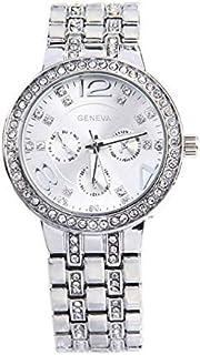 Geneva Crystals Silver Tone Metal Fashion Quartz Watch