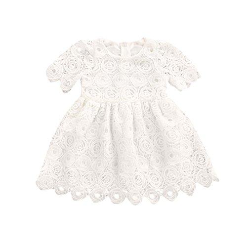 Jimmackey Neonata Bambine Vestito Pizzo Hollow Uncinetto Principessa Abito (Bianca, 6 Mesi)