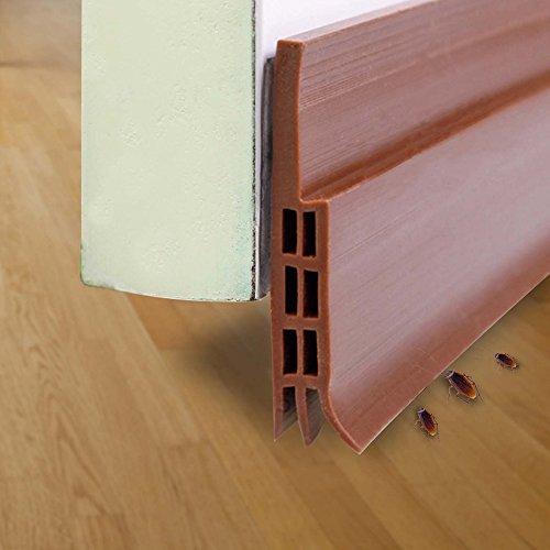 ドア下部ストリップ ドア下部シールテープ ドア下部隙間シールストリップ すきまシールテープ ドア隙間テープ すきま風防止 ドアスイープ 半透明 防水 隙間テープ防風 防虫 ソフトなシリコーン (褐色)