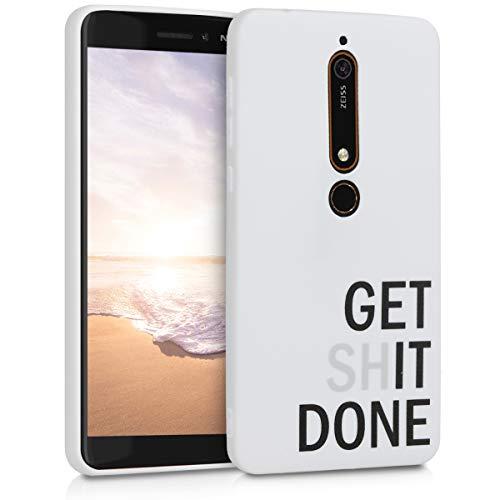 kwmobile Cover Compatibile con Nokia 6.1 (2018) - Custodia in Silicone TPU - Back Case Protezione Posteriore Cellulare - Get it Done Nero/Grigio Chiaro/Bianco