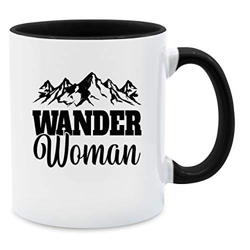 Tasse Hobby - Wander Woman - schwarz - Unisize - Schwarz - Backpacker - Q9061 - Tasse für Kaffee oder Tee