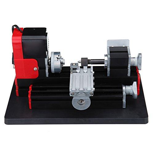 Samger 2000RPM Mini Tornio per Metallo 24W Tornio in metallo a velocità variabile 0.07mm Precisione per la Lavorazione di Legno, Metallo Morbido, Plastica