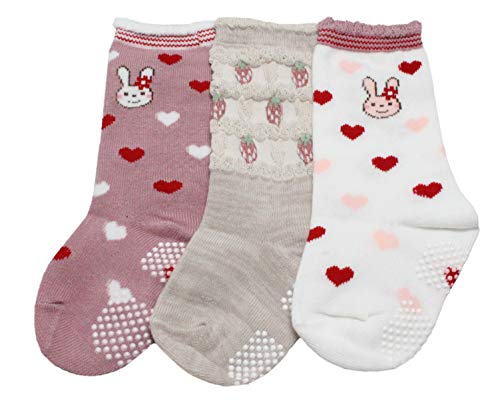 Colourful Baby World Filles Enfants Chausettes Lot de 3 Rose Fraise Rayure 1 An à 7 Antidérapant - A, 1-2 years old
