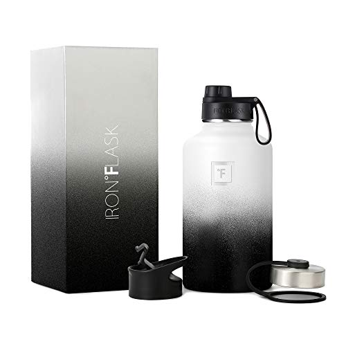 IRON °FLASK Sports Water Bottle - 64 Oz, 3 Lids (Spout Lid), Vacuum Insulated Stainless Steel, Double Walled, Thermo Mug, Metal Canteen