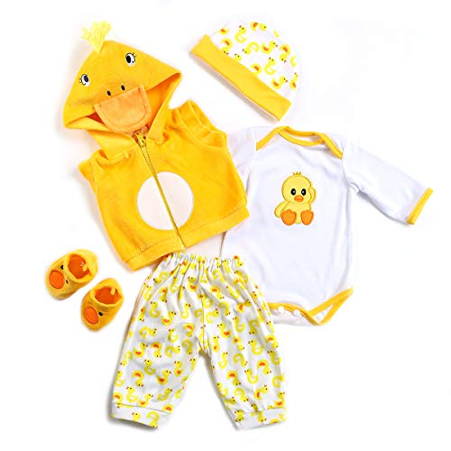Anano Reborn Baby Dolls Clothes 20-23 Inch Outfit Accessories Yellow Duck 5pcs Set for 20-22 Inch Reborn Doll Newborn Girl&Boy