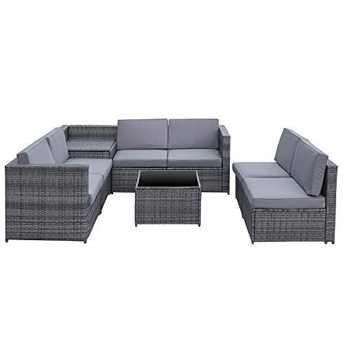 Outsunny 8-TLG. Polyrattan Gartengarnitur Gartenmöbel Garten-Set Sitzgruppe Loungeset Loungemöbel Beistelltisch als Aufbewahrungskorb Grau Stahl + Polyester 58 x 58 x 37 cm - 6