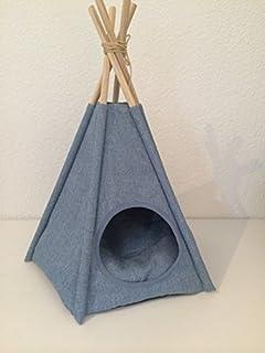 Djurdesign tipi tält tyg jeans ser små hundar och katter hundbädd kattbädd grotta hundkennel med rund ingång