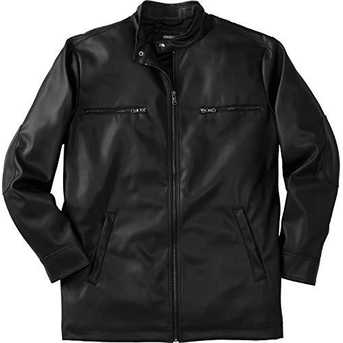 KingSize Men's Big & Tall Faux Leather Moto Jacket - Tall - XL, Black