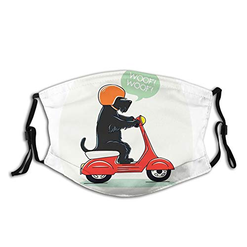 Nisdsgd Fashion 3D Face Protect Printed Gesichts-Mundschutz, Illustration of a Puppy Riding Scooter with Woof Woof Text Balloon Comic Design