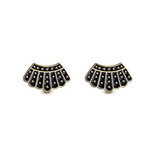 EVER FAITH RBG - Pendientes de plata de ley 925, diseño de corona, para niñas de Ruth Bader Ginsburg, color negro