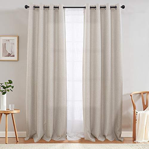 jinchan Curtains 84 inch Linen Textured Room Darkening Window Curtains Bedroom Window Curtain Set Living Room Drapes Greyish Beige 2 Panels