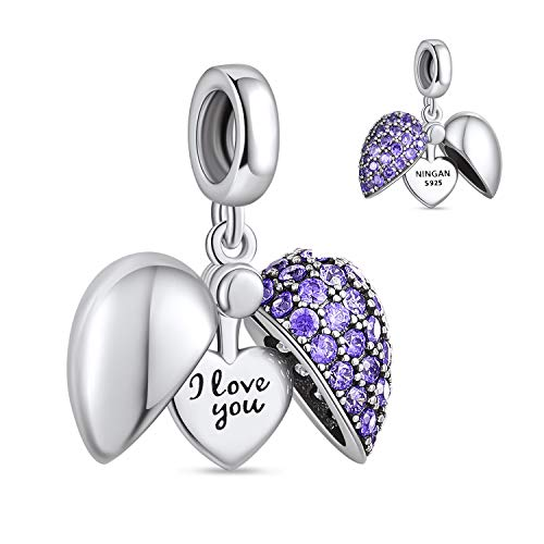 """NINGAN """"I Love You (Ich liebe dich)"""" Herz Charm-Anhänger 925 Sterling Silber Charm Bead für Pandora Chamilia und europäische Armbänder und Halsketten (Lila)"""