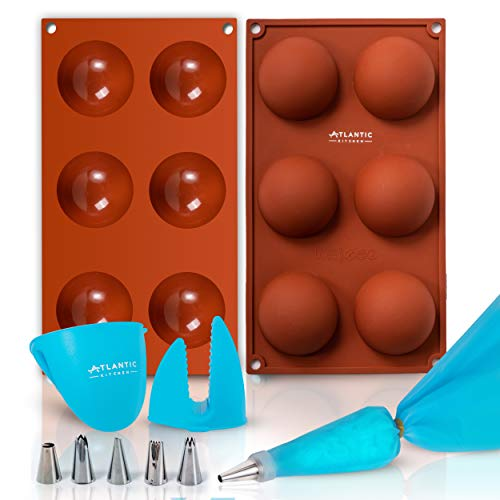 ATLANTIC KITCHEN 2 Pcs Silicone Molds for Chocolate - BPA Free, Food Grade Hot Chocolate Bomb Mold with Silicone Oven Mitts, Piping Bag, 6 Nozzles & Nozzle Holder