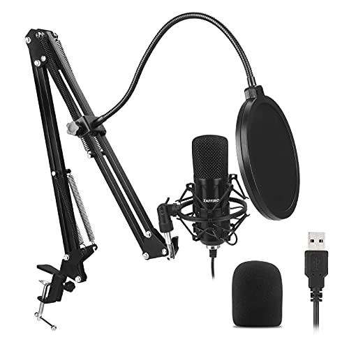 ZAFFIRO Newhaodi Microfono a condensatore USB Kit + Supporto Regolabile + Ragno Anti Shock + 1 Filtro Anti-Pop + 1 Filtro Anti-Vento | Microfono per Computer PC