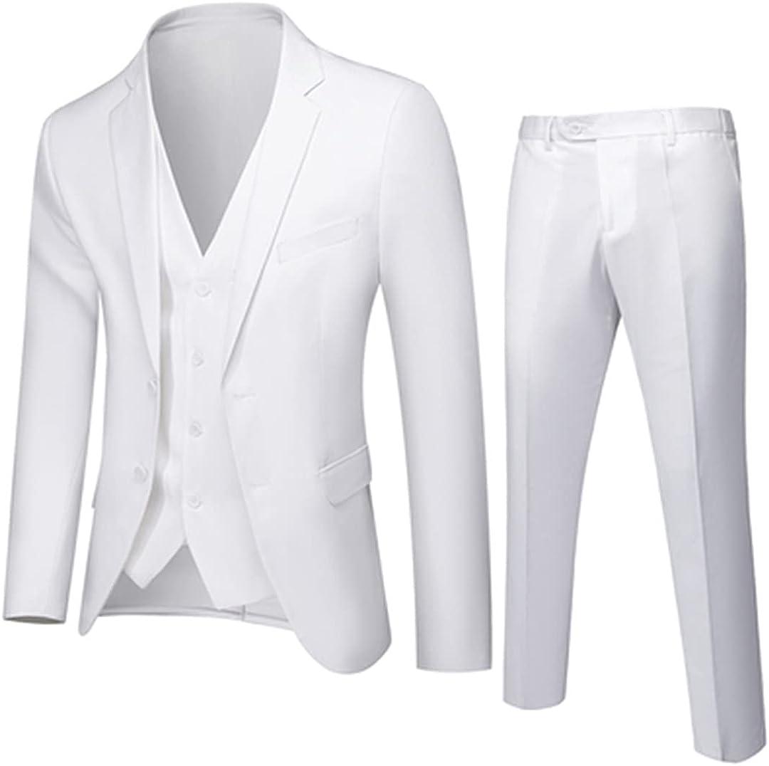Men's Slim Fit Blazer Jacket Vest Pants 3 Piece Suit Large Size Long Sleeve Notched Lapel Blazer Tuxedo