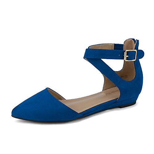 DREAM PAIRS Women's Pointed Toe Cross Ankle Strap Ballet Flats Pumps Shoes Harper Blue Size 11 US/ 9 UK