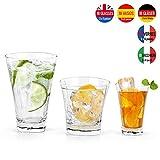 Lav Wassergläser Set 18 Stück, 3 Verschiedene Größen, 350 ml, 280 ml, 100 ml ideal für Longdrinks und Cocktails, likörgläser, Schnaps Whiskey, Trinkgläser Set, Groß, mittel & klein