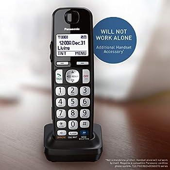 PANASONIC Cordless Phone Handset Accessory Compatible with TGE210/TGE230/TGE240/TGE270 Series Cordless Phone Systems - KX-TGEA20B  Black