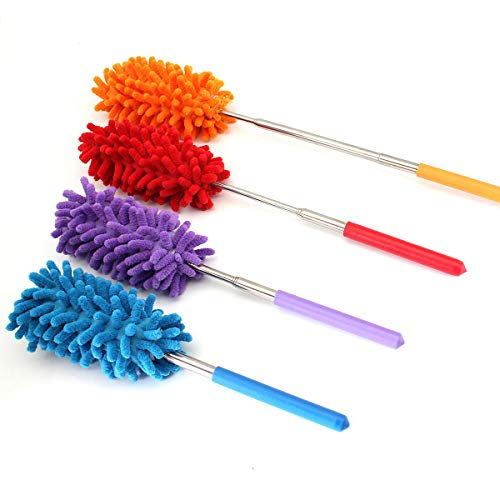Washable Dusters for Cleaning,Dusting Brush Telescoping Microfiber Duster Extendable 11-30 inch Cleaning Dust Home Office Car Tool Detachable, Wet or Dry Use (4 Pack)